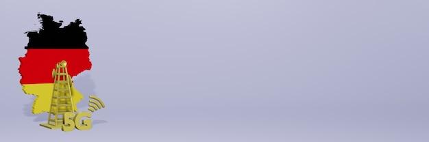Uso de 5g na alemanha para as necessidades de tv de mídia social e espaço em branco da capa do fundo do site