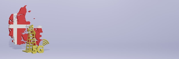 Uso de 5g na dinamarca para as necessidades de tv de mídia social e espaço em branco da capa do site