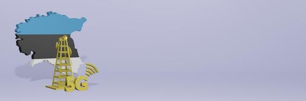 Uso de 5g na estônia para as necessidades de tv nas redes sociais e espaço em branco da capa do site