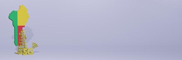 Uso de 5g no benin para as necessidades de tv nas redes sociais e espaço em branco da capa do site
