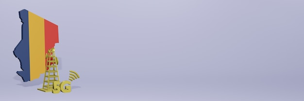 Uso de 5g no chade para as necessidades de tv de mídia social e espaço em branco da capa do site