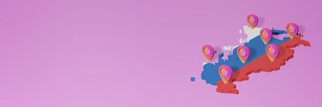Uso de mídia social e instagram em infográficos da rússia na renderização 3d