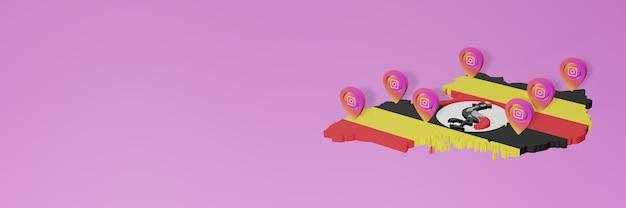 Uso de mídia social e instagram em uganda para infográficos em renderização 3d