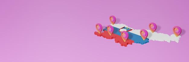 Uso de mídia social e instagram na eslovênia para infográficos em renderização 3d