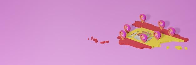 Uso de mídia social e instagram na espanha para infográficos em renderização 3d