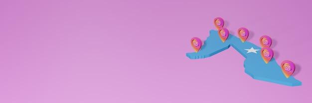 Uso de mídia social e instagram na somália para infográficos em renderização 3d