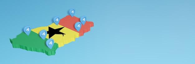 Uso de mídia social e telegrama em gana para infográficos em renderização 3d