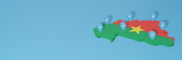 Uso de mídia social e twitter em burkina faso para infográficos em renderização 3d