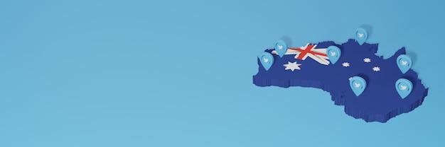 Uso de mídia social e twitter na austrália para infográficos em renderização 3d