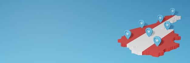 Uso de mídia social e twitter na áustria para infográficos em renderização 3d