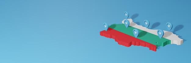 Uso de mídia social e twitter na bulgária para infográficos em renderização 3d