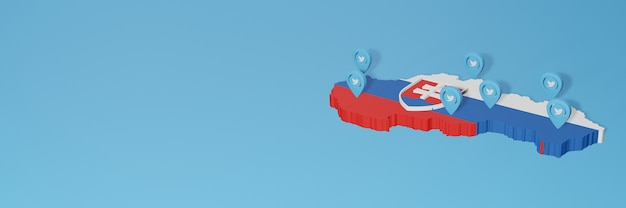 Uso de mídia social e twitter na eslováquia para infográficos em renderização 3d