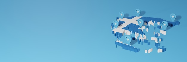 Uso de mídia social e twitter na grécia para infográficos em renderização 3d