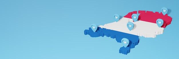 Uso de mídia social e twitter na holanda para infográficos em renderização 3d