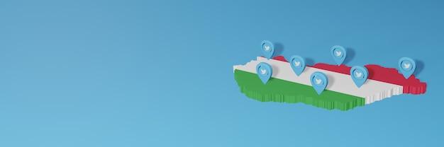 Uso de mídia social e twitter na hungria para infográficos em renderização 3d