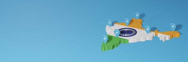 Uso de mídia social e twitter na índia para infográficos em renderização 3d