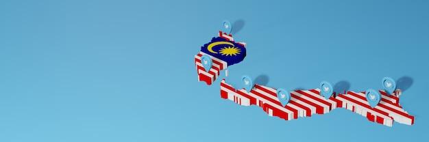 Uso de mídia social e twitter na malásia para infográficos em renderização 3d