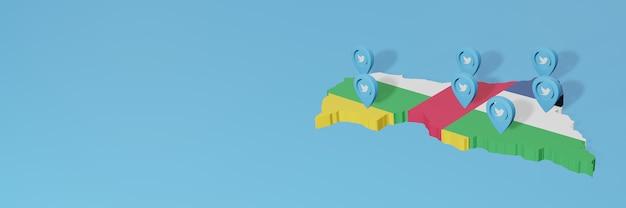 Uso de mídia social e twitter na república centro-africana para infográficos em renderização 3d