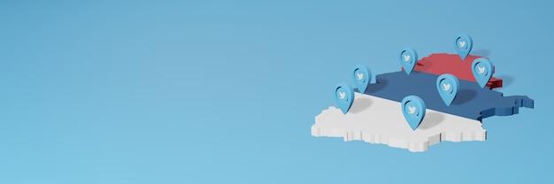 Uso de mídia social e twitter na sérvia para infográficos em renderização 3d