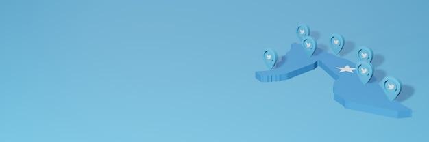 Uso de mídia social e twitter na somália para infográficos em renderização 3d