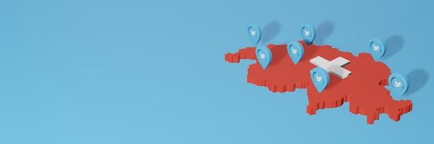 Uso de mídia social e twitter na suíça para infográficos em renderização 3d