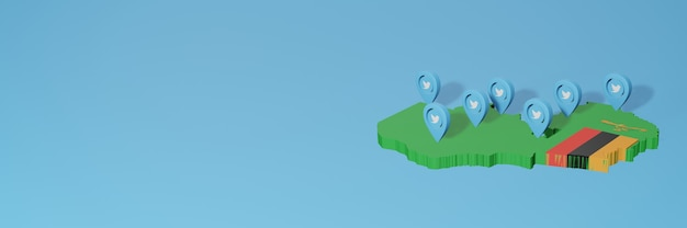 Uso de mídia social e twitter na zâmbia para infográficos em renderização 3d
