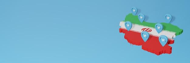Uso de mídia social e twitter no irã para infográficos em renderização 3d
