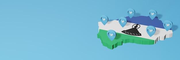 Uso de mídia social e twitter no lesoto para infográficos em renderização 3d