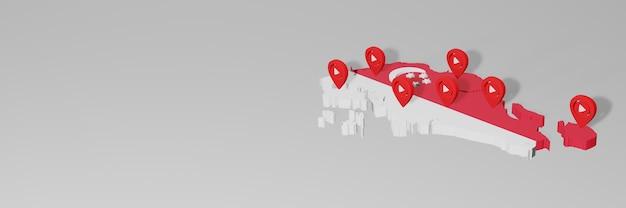 Uso de mídia social e youtube em cingapura para infográficos em renderização 3d