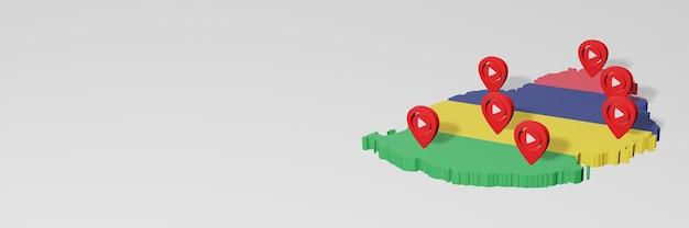 Uso de mídia social e youtube em maurício para infográficos em renderização 3d
