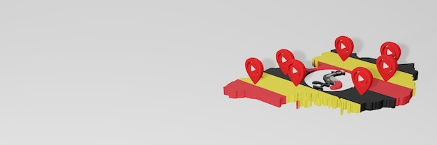 Uso de mídia social e youtube em uganda para infográficos em renderização 3d