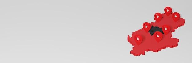 Uso de mídia social e youtube na albânia para infográficos em renderização 3d