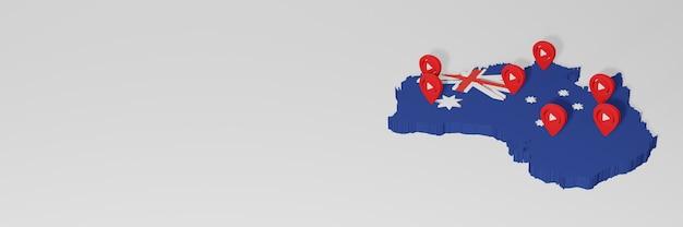 Uso de mídia social e youtube na austrália para infográficos em renderização 3d