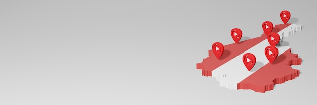 Uso de mídia social e youtube na áustria para infográficos em renderização 3d