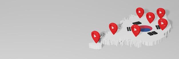 Uso de mídia social e youtube na coreia para infográficos em renderização 3d