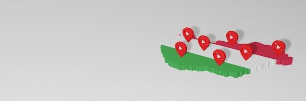 Uso de mídia social e youtube na hungria para infográficos em renderização 3d