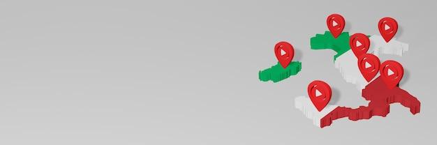 Uso de mídia social e youtube na itália para infográficos em renderização 3d