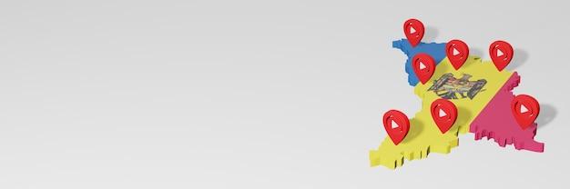 Uso de mídia social e youtube na moldávia para infográficos em renderização 3d