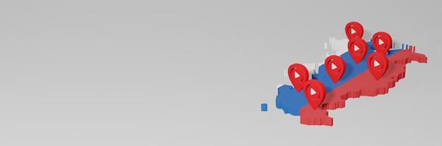Uso de mídia social e youtube na rússia para infográficos em renderização 3d