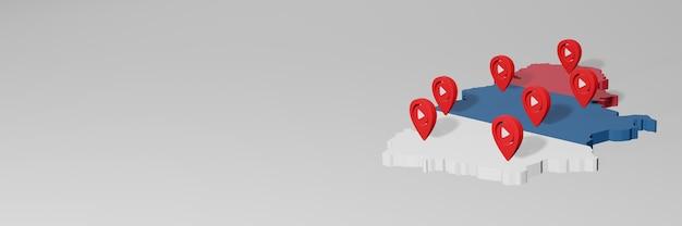 Uso de mídia social e youtube na sérvia para infográficos em renderização 3d