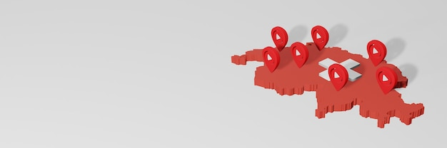 Uso de mídia social e youtube na suíça para infográficos em renderização 3d