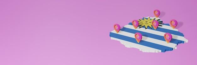 Uso de mídias sociais e instagram no uruguai para infográficos em renderização 3d