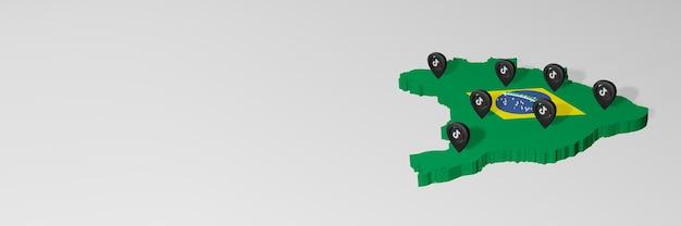 Uso de mídias sociais e tik tok no brasil para infográficos em renderização 3d