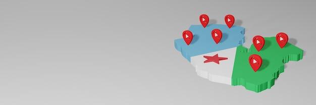 Uso de mídias sociais e youtube em djibouti para infográficos em renderização 3d