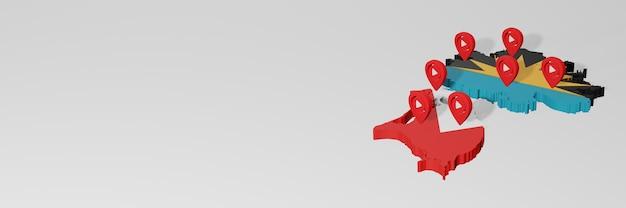 Uso de mídias sociais e youtube na antiqua e barbuda para infográficos em renderização 3d