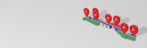 Uso de mídias sociais e youtube na gâmbia para infográficos em renderização 3d