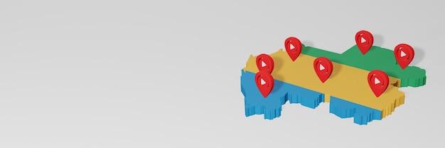 Uso de mídias sociais e youtube no gabão para infográficos em renderização 3d
