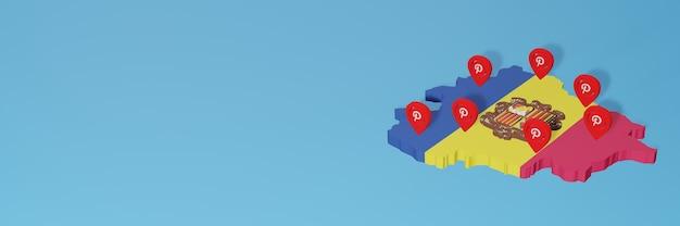 Uso do pinterest em andora para as necessidades de tv de mídia social e espaço em branco da capa do site