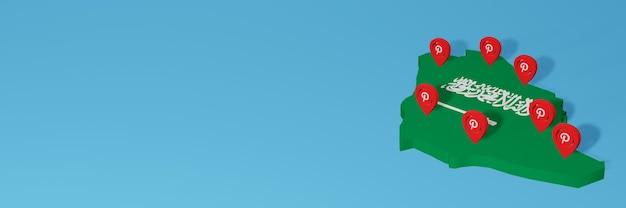 Uso do pinterest em árabe para as necessidades de tv de mídia social e espaço em branco da capa do site