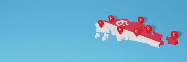 Uso do pinterest em singapor para as necessidades de tv de mídia social e cobertura de plano de fundo do site